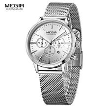 fbe760b739e Megir Women  039 s Chronograph Luminous Hands Date Indicator Stainless  Steel Mesh Strap Quartz