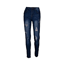 Ladies Classic High Waist Stretchy Ragged Denim Jeans - Blue