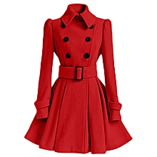 Xiuxingzi Winter Warm Women Woolen Coat Trench Parka Jacket Belt Overcoat Outwear
