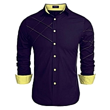 COOFANDY Men Long Sleeve Turn Down Neck Pure Color Loose Tops Casual Loose Cotton Button Down Shirts ( Purple )