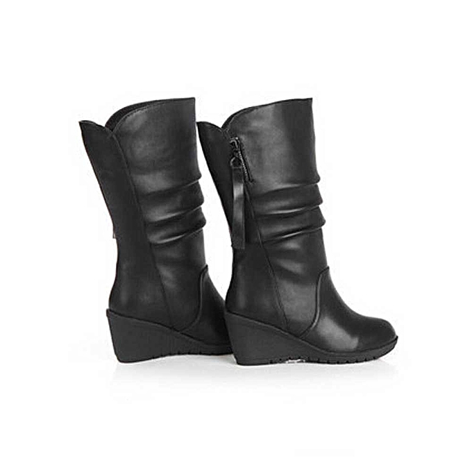 0025609745b9 Women Autumn Winter Warm Shoes Ladies Wedges High Heel Ankle Boots Zipper  Boots- Black 35
