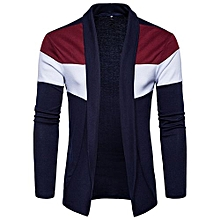 Mens Slim Fit Hooded Knit Sweater Fashion Patchwork Trench Coat Jacket