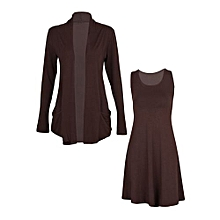 2 Piece Brown Dress Top/ Waterfall Cardigan Set