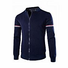 Men's Hot Sale Mens Hoody Jacket Coat Two Color Blocked Lightweight Fleece Jacket-blue