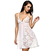 Avidlove Women Sexy Semi-Sheer Spaghetti Strap Lace Patchwork Lingerie Dress