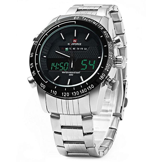 NAVIFORCE Men Analog Digital Led Wristwatch - White   Best Price ... 5f936cbef8