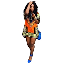 Fohting  Women African Print Dress Casual Straight Print Above Knee Mini Dresses L -Yellow