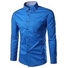 Light Blue Slim Fit Button Down Casual Shirt