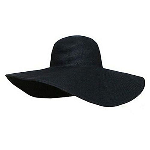 375ed5c248e Eissely Summer Women Foldable Wide Large Brim Floppy Beach Hat Sun Straw Hat  BK   Best Price