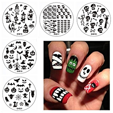 Halloween Nail Art Stamping Set Broom Owl Ghost Witch DIY Tips Designs Printing Template Plate