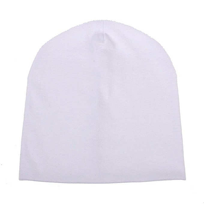 b0618e92f46 Cute Baby Girls Boys Pure Color Toddlers Cotton Sleep Cap Headwear Hat-White