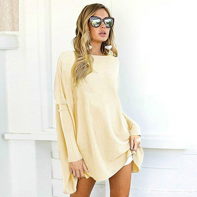 da7be1c43e36a Women Loose T-shirt O Neck Batwing Long Sleeves Flared Hem Oversized Tunics  Tees Shirts