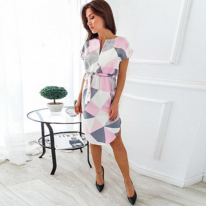 8b45240ea70 Elegant Women Midi Dress Geometric Print Color Block Short Sleeves V-Neck  Split Belt Casual