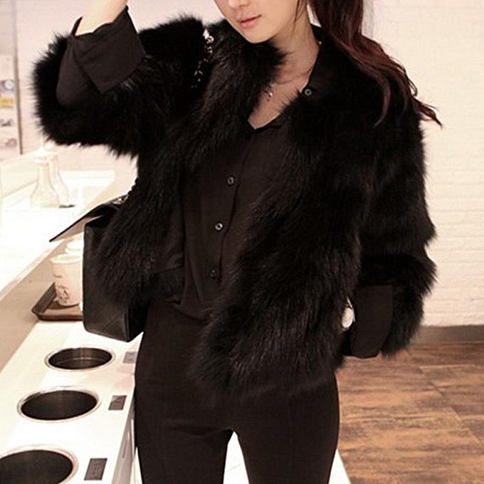04398e34f1a Coat Women Faux Fur Soft Fur Coat Jacket Fluffy Winter Waistcoat Outerwear  -Black