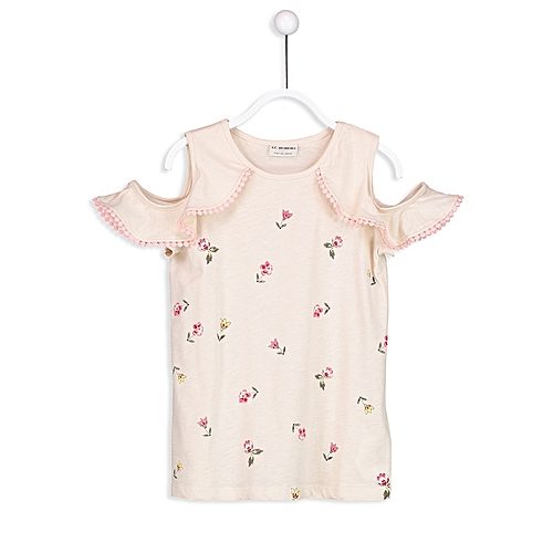 Beige Floral Fashionable Standard T-Shirt