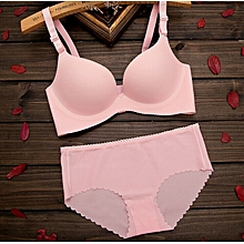 Sexy Pink Seamless Spandex Panty and Bra Set with cotton lining