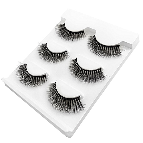 bb5bee57103 Generic new 3 pairs mink eyelashes natural false eyelashes 3D mink lashes  makeup soft fake eyeextension hand made eye lashes #X09(X03)