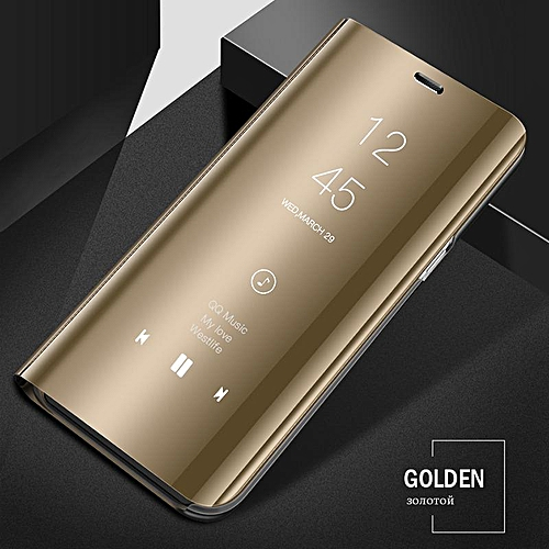 watch 485fa 43bfb Luxury Smart Clear View Mirror Case For Samsung Galaxy A8 2018 Cover  Leather Flip Case For Samsung Galaxy A8 2018 Stand Phone Cases (gold)