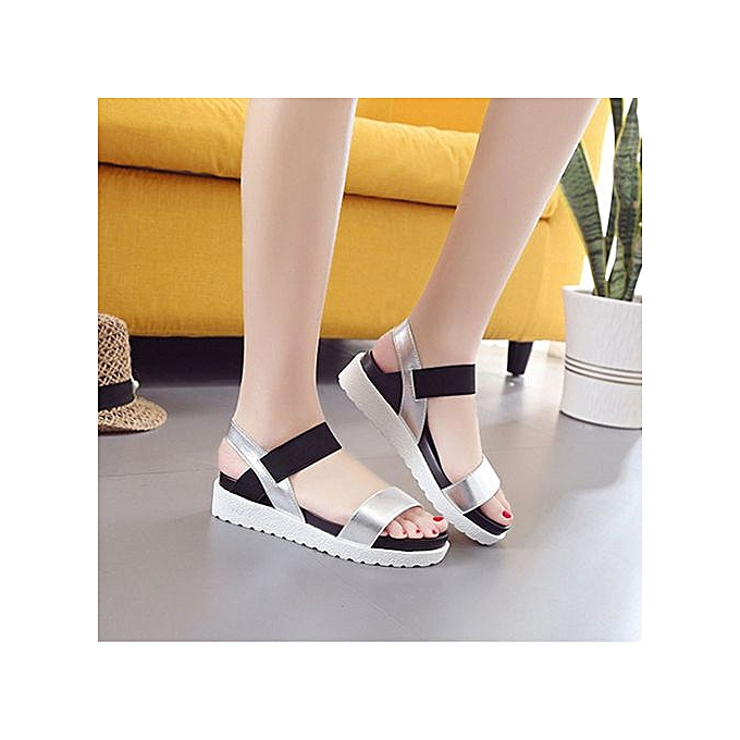 9aab8c103 ... Jiahsyc Store Fashion Sandals Women Aged Leather Flat Sandals Ladies  Shoes Silver 36-Silver ...