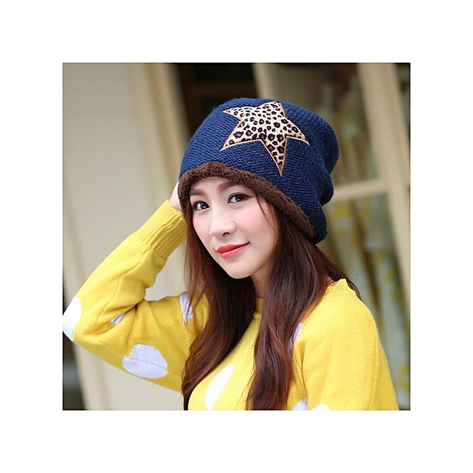 Generic Fashion Women Star Winter Plus Velvet Warm Knitted Wool Hat ... 4ed832a9dc66