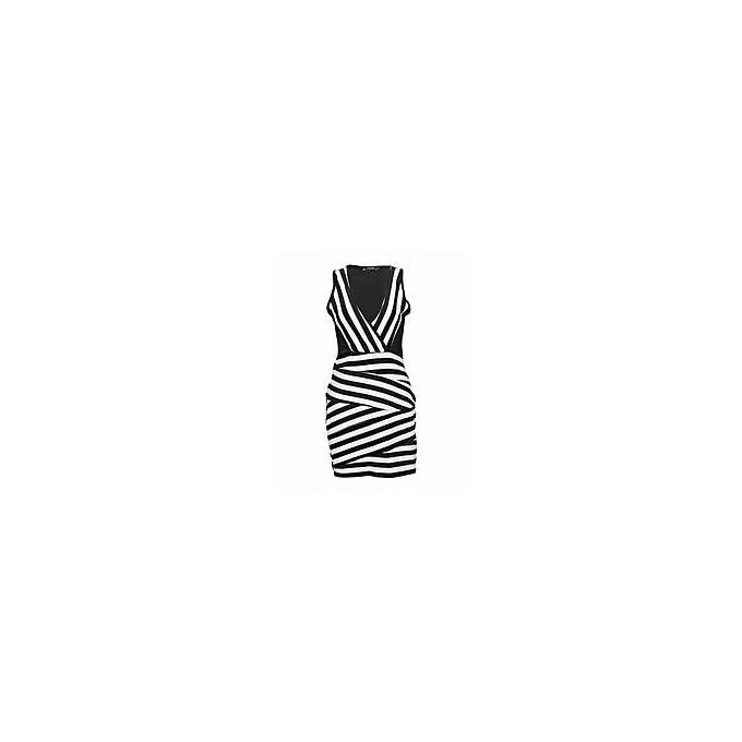 6bbf7efa1c Finejo Black   White V-Neck Striped Slim Party Dress   Best Price ...