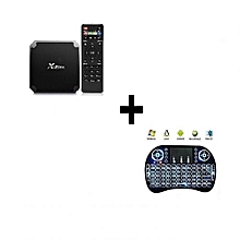Mini - Android Box 7.1.2 - 2GB RAM 16GB ROM Quad Core + Back-lit Mini Keyboard - Black