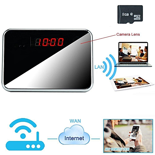 8GB 1920x1080P HD WIFI Network Hidden Camera Clock Indoor Motion Detective  Video Recorder Support iPhone Android APP Remote View Audio Recording BDZ