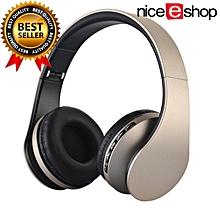 Wireless Bluetooth Stereo Headphone Foldable EDR Earphone Mic MP3 FM Headset For Smart Phones Tablet(Gold+Black)