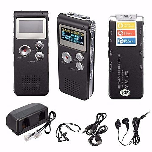Rechargeable 8GB 650Hr Digital Audio/Sound/Voice Recorder Dictaphone MP3 Player Grey