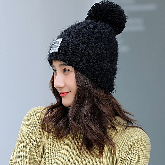 331b975f41a Adult Women Men Winter Crochet Hat Knit Hat Solid Color Hairball Warm Cap  yumisok ...