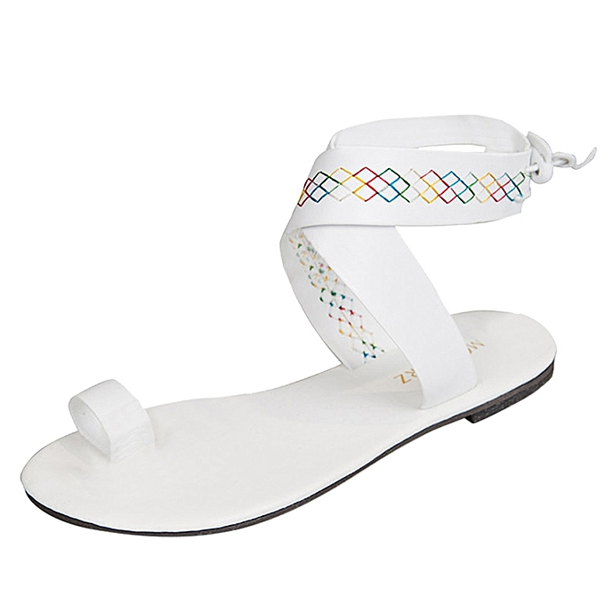 4be73e3ecc2e0 Blicool Shop Women Sandals Women Cross Belt Rome Strappy Gladiator Low Flat  Flip Flops Beach Sandals Shoes- White