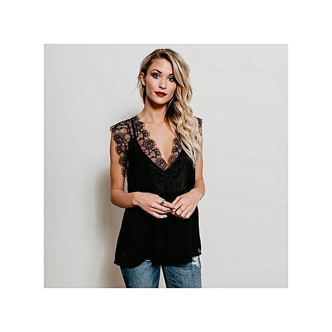 9b9bfab13a2 Hiaojbk Store Women Lace Sleeveless Tops V Neck Hollow Blouse T Shirt Vest  -Black