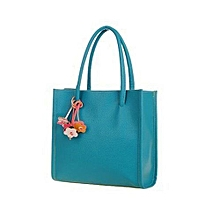 bluerdream-Fashion Girls Handbags Leather Shoulder Bag Candy Color Flowers Totes BU-Blue