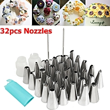 32pcs Icing Piping Pastry Fondant Cake Decorating Sugarcraft Nozzle Tip Tool Set