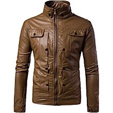 Men Leather Jacket Autumn&Winter Biker Motorcycle Zipper Outwear  Warm Coat- Khaki