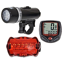 Fohting Bicycle Speedometer + 5 LED Mountain Bike Cycling Light Head + Rear Lamp New -Black