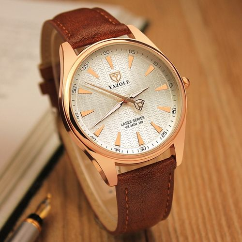 Casual Men's Fashion Simple Quartz Movement Leather Strap Wrist Watches-Silver+Brown - Silver