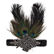 Women Peacock Feather Flapper Headpiece 1920s Vintage Headband Headdress Peacock