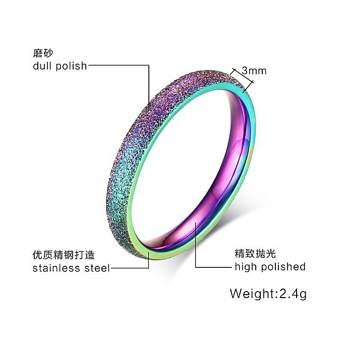 Simple Ring Female Fashion 3MM Stainless Steel Sandblasting Ring Color Ring  Trend Jewelry R-126-Mei Wai 5