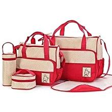 Trendy 5 in 1 Baby Diaper Bag- Red