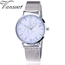 Fohting  Vansvar Casual Quartz Stainless Steel Band Marble Strap Watch Analog Wrist Watch -Silver