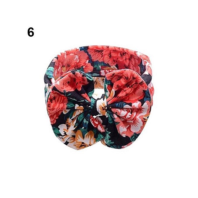 Baby Kids Fashion Flower Printing Big Bow Cloth Headband Hair Band  Headwear-6 e87925fa02a