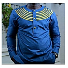 Blue Long Sleeved African Print Casual Men's Shirt