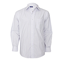 White With Purple Striped Long Sleeved Shirt