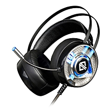 Gaming Headphones with Mic RGB Light USB 3.5mm Audio Jack - Black