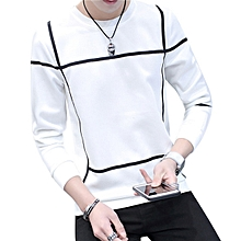 Fashion Men Youth Long Sleeves O-neck Slim Fit Casual All Match T-shirt Top Tee-White.