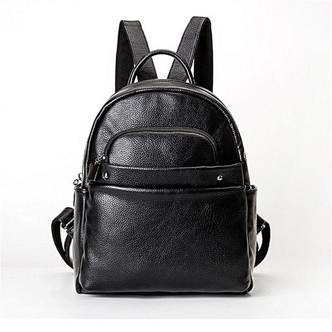 7597fd4beb13 Women Cowhide Leather Backpack Schoolbag Shoulder Bag Handbag Travel  Rucksack