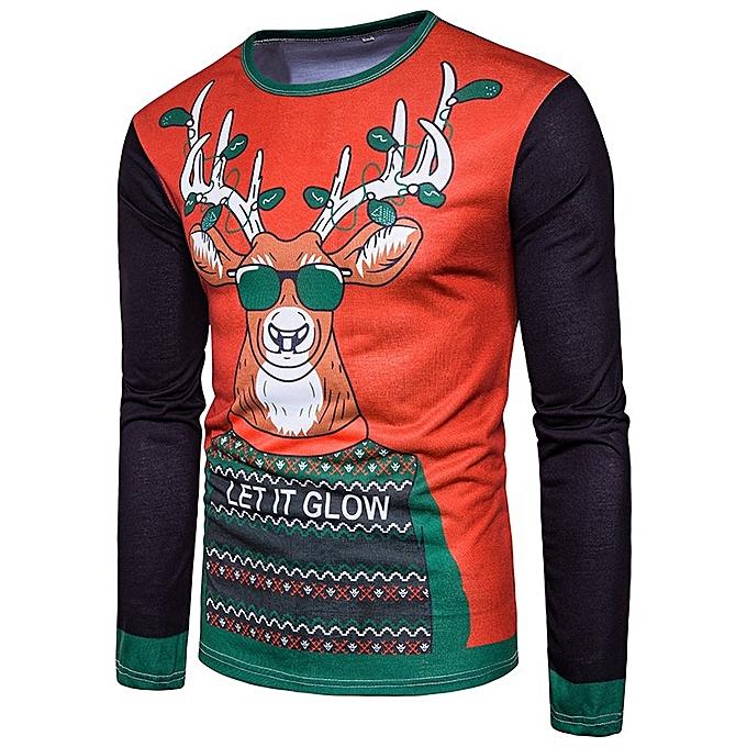 93f8ca5ea4d4 New Stylish Men Youth US Christmas Elk 3D Printed Round Collar T-shirt