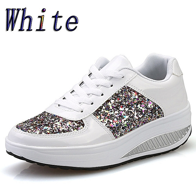 4b9f95562a23 Women s Ladies Wedges Sneakers Sequins Shake Shoes Fashion Girls Sport Shoes