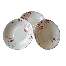 Break Resistance-Dinner-Plates- 6pcs-Set-White with Pink Flowers